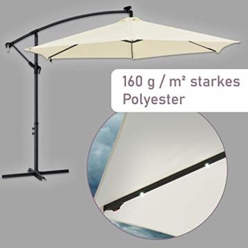 ArtLife Ampelschirm Brazil 350 cm LED-Beleuchtung Solar & Kurbel – UV-Schutz wasserabweisend knickbar – Sonnenschirm Marktschirm – grau/Creme - 6