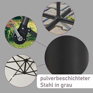ArtLife Ampelschirm Brazil 350 cm LED-Beleuchtung Solar & Kurbel – UV-Schutz wasserabweisend knickbar – Sonnenschirm Marktschirm – grau/Creme - 7