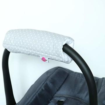 Babymajawelt® Armpolster Armschoner Griffpolster Gurtpolster für Babyschale MaxiCosi Römer (Punkte (grau)) - 2