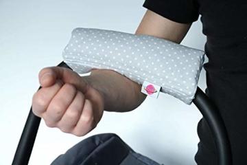Babymajawelt® Armpolster Armschoner Griffpolster Gurtpolster für Babyschale MaxiCosi Römer (Punkte (grau)) - 3