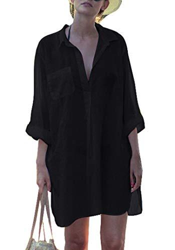 Belloxis Strandkleid Damen Sommer Blusenkleid Hemdkleid Strand Kimono - 1
