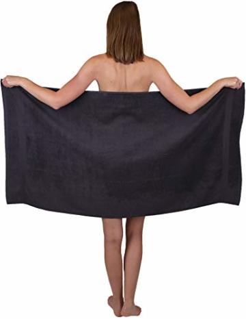 Betz 12-TLG. Handtuch Set Premium 100% Baumwolle 2 Duschtücher 4 Handtücher 2 Gästetücher 2 Seiftücher 2 Waschhandschuhe Farbe Graphit grau/tannengrün - 3