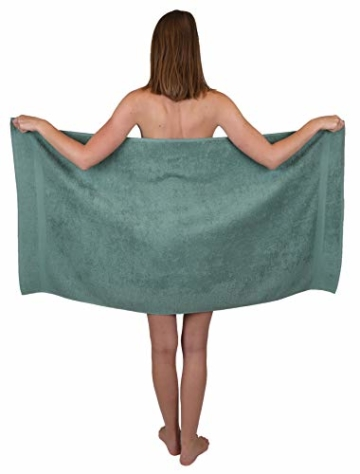 Betz 12-TLG. Handtuch Set Premium 100% Baumwolle 2 Duschtücher 4 Handtücher 2 Gästetücher 2 Seiftücher 2 Waschhandschuhe Farbe Graphit grau/tannengrün - 4