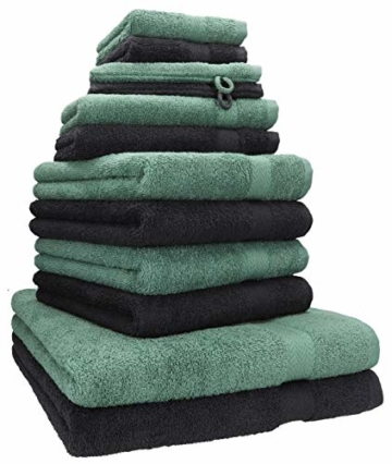 Betz 12-TLG. Handtuch Set Premium 100% Baumwolle 2 Duschtücher 4 Handtücher 2 Gästetücher 2 Seiftücher 2 Waschhandschuhe Farbe Graphit grau/tannengrün - 1