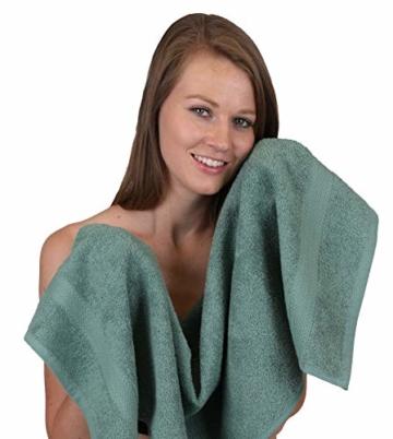 Betz 12-TLG. Handtuch Set Premium 100% Baumwolle 2 Duschtücher 4 Handtücher 2 Gästetücher 2 Seiftücher 2 Waschhandschuhe Farbe Graphit grau/tannengrün - 5