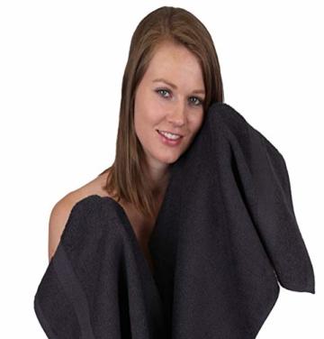 Betz 12-TLG. Handtuch Set Premium 100% Baumwolle 2 Duschtücher 4 Handtücher 2 Gästetücher 2 Seiftücher 2 Waschhandschuhe Farbe Graphit grau/tannengrün - 6