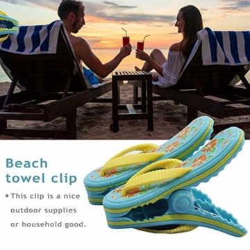 bozitian Wäscheklammern Badetuch Klammern Flip Flop Strandtuch Clips Boca Stil - Zwei Paar Flip Flops - Für Tägliche Wäsche Großes Strandtuch Handtuchclips - 2 STÜCKE - 4