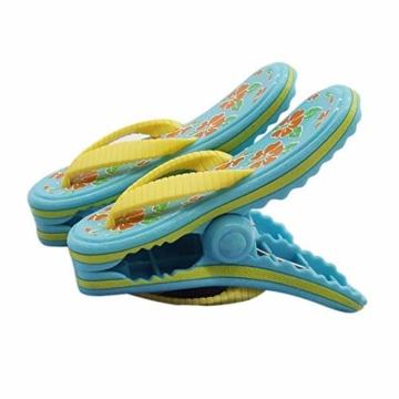 bozitian Wäscheklammern Badetuch Klammern Flip Flop Strandtuch Clips Boca Stil - Zwei Paar Flip Flops - Für Tägliche Wäsche Großes Strandtuch Handtuchclips - 2 STÜCKE - 1