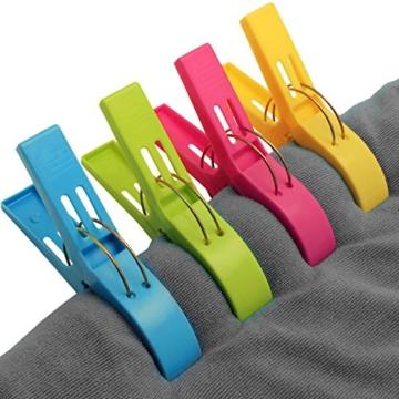 Byou Handtuch Klammer,Strandtuch Clips Kunststoff Große Wäscheklammern für Tägliche Wäsche Strandtuch Badetuch Bettwäsche und Dicke Kleidung 8packs - 3