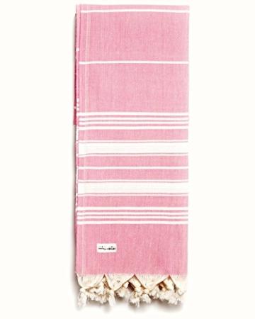 Captain&Mermaid® Premium Strandtuch aus 100% Baumwolle Oeko-TEX® | Badetuch | Handtuch | Yoga | Peshtemal | Sauna Tuch | Hamam Tuch | leicht, dünn & extra saugstark (Rosa) - 1