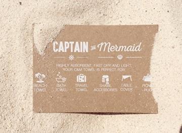 Captain&Mermaid® Premium Strandtuch aus 100% Baumwolle Oeko-TEX® | Badetuch | Handtuch | Yoga | Peshtemal | Sauna Tuch | Hamam Tuch | leicht, dünn & extra saugstark (Rosa) - 2