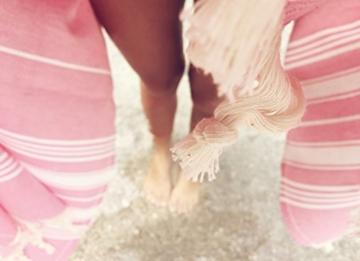 Captain&Mermaid® Premium Strandtuch aus 100% Baumwolle Oeko-TEX® | Badetuch | Handtuch | Yoga | Peshtemal | Sauna Tuch | Hamam Tuch | leicht, dünn & extra saugstark (Rosa) - 6