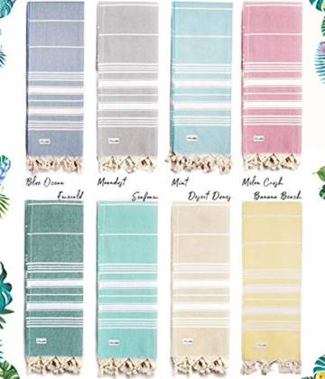 Captain&Mermaid® Premium Strandtuch aus 100% Baumwolle Oeko-TEX® | Badetuch | Handtuch | Yoga | Peshtemal | Sauna Tuch | Hamam Tuch | leicht, dünn & extra saugstark (Rosa) - 8
