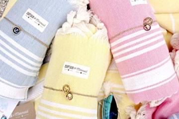 Captain&Mermaid® Premium Strandtuch aus 100% Baumwolle Oeko-TEX® | Badetuch | Handtuch | Yoga | Peshtemal | Sauna Tuch | Hamam Tuch | leicht, dünn & extra saugstark (Rosa) - 10