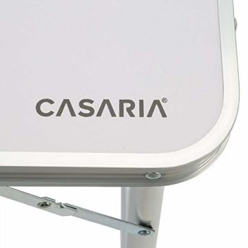 Casaria Campingtisch Klapptisch Klappbar Höhenverstellbar Griff Aluminium 120x60x70 cm Gartentisch Camping Garten Weiß - 5