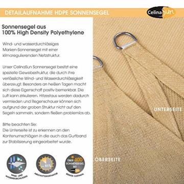 CelinaSun Sonnensegel inkl Befestigungsseile HDPE wetterbeständig atmungsaktiv Rechteck 2 x 3 m Sand beige - 4