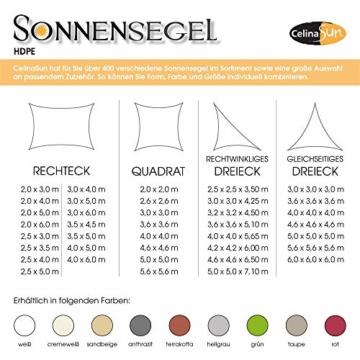 CelinaSun Sonnensegel inkl Befestigungsseile HDPE wetterbeständig atmungsaktiv Rechteck 2 x 3 m Sand beige - 7