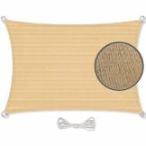 CelinaSun Sonnensegel inkl Befestigungsseile HDPE wetterbeständig atmungsaktiv Rechteck 2 x 3 m Sand beige - 1