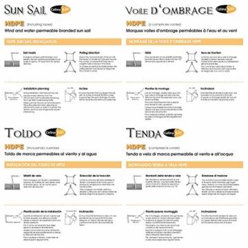 CelinaSun Sonnensegel inkl Befestigungsseile HDPE wetterbeständig atmungsaktiv Rechteck 2 x 3 m Sand beige - 3