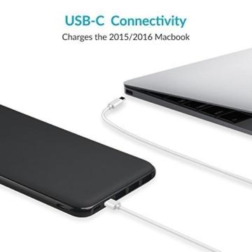 Charmast 26800mAh Powerbank Externer Akku Typ C Micro USB Slim Ladegerät mit 3 Eingängen 4 Ausgängen für MacBook Nintendo Switch iPhone iPad Samsung Huawei und weitere Smartphones(Schwarz) - 3