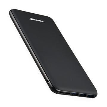 Charmast 26800mAh Powerbank Externer Akku Typ C Micro USB Slim Ladegerät mit 3 Eingängen 4 Ausgängen für MacBook Nintendo Switch iPhone iPad Samsung Huawei und weitere Smartphones(Schwarz) - 1