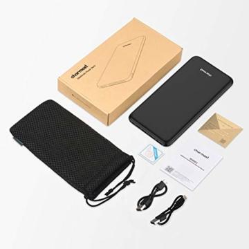 Charmast 26800mAh Powerbank Externer Akku Typ C Micro USB Slim Ladegerät mit 3 Eingängen 4 Ausgängen für MacBook Nintendo Switch iPhone iPad Samsung Huawei und weitere Smartphones(Schwarz) - 7