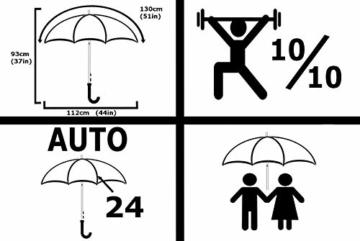 COLLAR AND CUFFS LONDON - 24 Rippen für Mehr Widerstandskraft - SEHR STARK - Dreifache Schicht Rahmen - Verstärkt mit Fiberglas - Automatik Stockschirm - Windproof Regenschirm Holzgriff Holz - Schwarz - 4