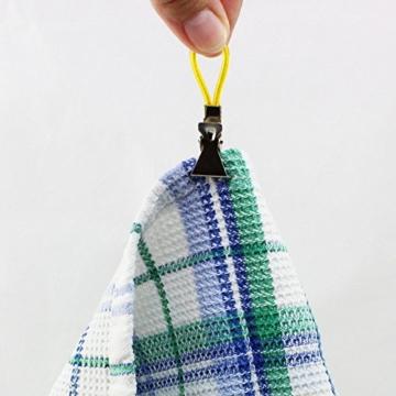 com-four® 20x Handtuchhalter-Clips aus Kunststoff und verchromten Metall, Bunte Klemmen als Handtuchhaken Clip-Aufhänger zum Aufhängen von Handtüchern, Topflappen, Geschirrtücher (20 Stück) - 2