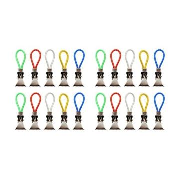 com-four® 20x Handtuchhalter-Clips aus Kunststoff und verchromten Metall, Bunte Klemmen als Handtuchhaken Clip-Aufhänger zum Aufhängen von Handtüchern, Topflappen, Geschirrtücher (20 Stück) - 1