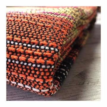 Craft Story Decke Fatima I schwarz-orange-gelb-Flieder-Curry gestreift aus 100% Baumwolle I Tagesdecke I Sofa-Decke I Couch-Überwurf I Bedspread I Plaid I Picknickdecke I Läufer I 170 x 220cm - 7