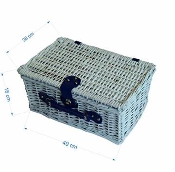 CREOFANT Picknickkorb für 4 Personen · Piknikset · Weidenkorb mit Picknickdecke · 22 teiliges Picknick-Set mit Geschirr · Picknickkoffer Set mit Decke (Weiß Blaue Streifen) - 2