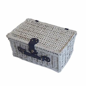 CREOFANT Picknickkorb für 4 Personen · Piknikset · Weidenkorb mit Picknickdecke · 22 teiliges Picknick-Set mit Geschirr · Picknickkoffer Set mit Decke (Weiß Blaue Streifen) - 3