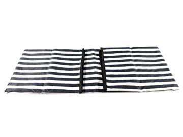 CREOFANT Picknickkorb für 4 Personen · Piknikset · Weidenkorb mit Picknickdecke · 22 teiliges Picknick-Set mit Geschirr · Picknickkoffer Set mit Decke (Weiß Blaue Streifen) - 4