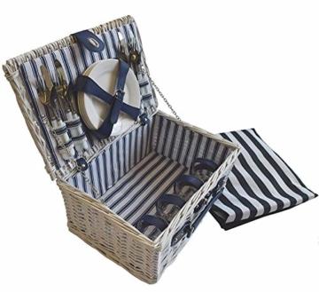 CREOFANT Picknickkorb für 4 Personen · Piknikset · Weidenkorb mit Picknickdecke · 22 teiliges Picknick-Set mit Geschirr · Picknickkoffer Set mit Decke (Weiß Blaue Streifen) - 1