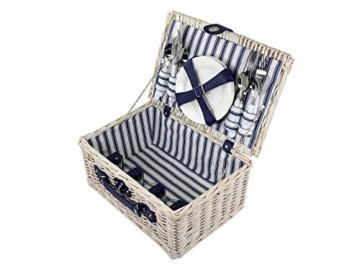 CREOFANT Picknickkorb für 4 Personen · Piknikset · Weidenkorb mit Picknickdecke · 22 teiliges Picknick-Set mit Geschirr · Picknickkoffer Set mit Decke (Weiß Blaue Streifen) - 5