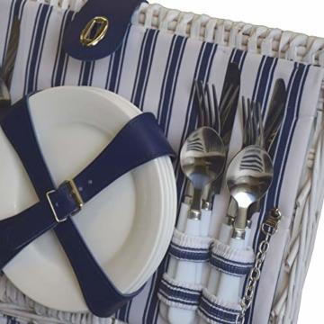 CREOFANT Picknickkorb für 4 Personen · Piknikset · Weidenkorb mit Picknickdecke · 22 teiliges Picknick-Set mit Geschirr · Picknickkoffer Set mit Decke (Weiß Blaue Streifen) - 6