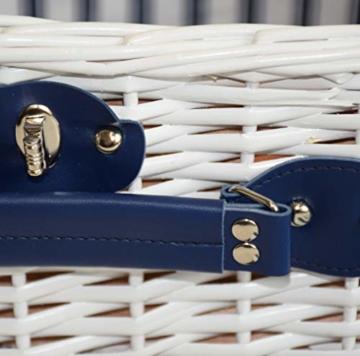 CREOFANT Picknickkorb für 4 Personen · Piknikset · Weidenkorb mit Picknickdecke · 22 teiliges Picknick-Set mit Geschirr · Picknickkoffer Set mit Decke (Weiß Blaue Streifen) - 7