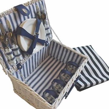 CREOFANT Picknickkorb für 4 Personen · Piknikset · Weidenkorb mit Picknickdecke · 22 teiliges Picknick-Set mit Geschirr · Picknickkoffer Set mit Decke (Weiß Blaue Streifen) - 8
