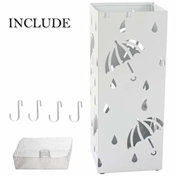 D4P Display4top Regenschirmständer Aus Metall 20×20×50 cm, Einschließlich 4 Haken und Tropfschale, Heimat des regenschirms die zu Hause oder im büro verwendet Werden kann (Weiß, Quadrat) - 4