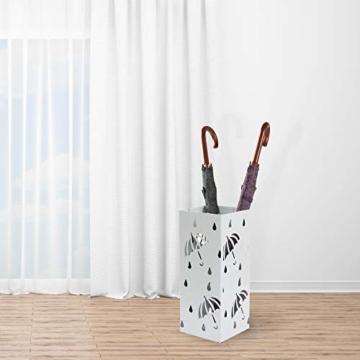D4P Display4top Regenschirmständer Aus Metall 20×20×50 cm, Einschließlich 4 Haken und Tropfschale, Heimat des regenschirms die zu Hause oder im büro verwendet Werden kann (Weiß, Quadrat) - 6