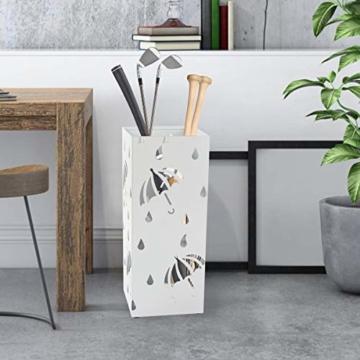 D4P Display4top Regenschirmständer Aus Metall 20×20×50 cm, Einschließlich 4 Haken und Tropfschale, Heimat des regenschirms die zu Hause oder im büro verwendet Werden kann (Weiß, Quadrat) - 7
