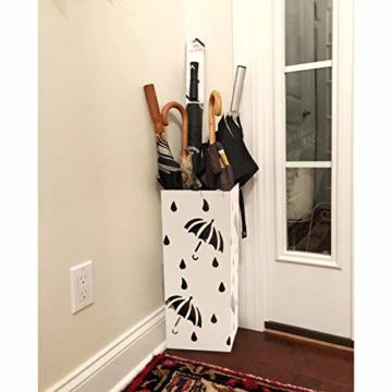 D4P Display4top Regenschirmständer Aus Metall 20×20×50 cm, Einschließlich 4 Haken und Tropfschale, Heimat des regenschirms die zu Hause oder im büro verwendet Werden kann (Weiß, Quadrat) - 3