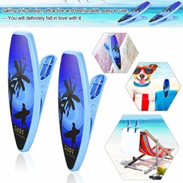DECARETA 2 Stück Klammern für Strandtuch Große Kunststoff Strandtuchklammern Winddicht Wäscheklammern Blau Strand Handtuch Strandtuch Klammer Clips für Badetücher Strandtücher Sonnenliegen - 6