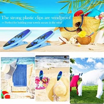 DECARETA 2 Stück Klammern für Strandtuch Große Kunststoff Strandtuchklammern Winddicht Wäscheklammern Blau Strand Handtuch Strandtuch Klammer Clips für Badetücher Strandtücher Sonnenliegen - 7
