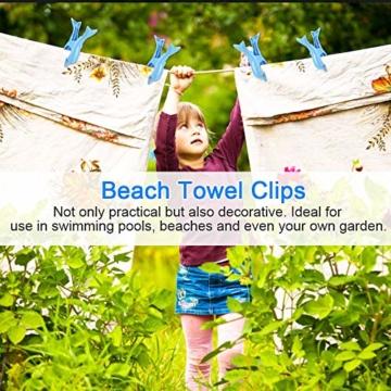 DECARETA 4 Stück Klammern für Strandtuch Große Kunststoff Strandtuchklammern Winddicht Wäscheklammern Blau Strand Handtuch Strandtuch Klammer Clips für Badetücher Strandtücher Sonnenliegen - 7