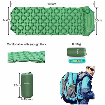 Deeplee Isomatte Camping, Ultraleichte Luftmatratze Schlafmatte Eingebaute Presspumpe, Aufblasbare Isomatte kompakte für Outdoor,wasserdichte für Wandern,Backpacking,Camping,Strand(Grün) - 2