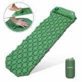 Deeplee Isomatte Camping, Ultraleichte Luftmatratze Schlafmatte Eingebaute Presspumpe, Aufblasbare Isomatte kompakte für Outdoor,wasserdichte für Wandern,Backpacking,Camping,Strand(Grün) - 1