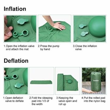 Deeplee Isomatte Camping, Ultraleichte Luftmatratze Schlafmatte Eingebaute Presspumpe, Aufblasbare Isomatte kompakte für Outdoor,wasserdichte für Wandern,Backpacking,Camping,Strand(Grün) - 4