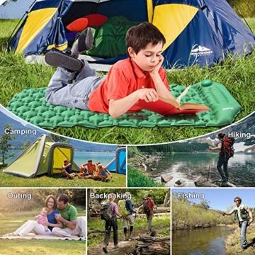 Deeplee Isomatte Camping, Ultraleichte Luftmatratze Schlafmatte Eingebaute Presspumpe, Aufblasbare Isomatte kompakte für Outdoor,wasserdichte für Wandern,Backpacking,Camping,Strand(Grün) - 6