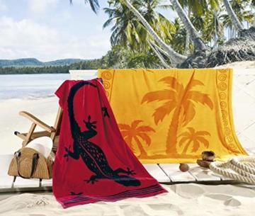 Delindo Lifestyle® Frottee Strandtuch Tropical Gecko ROT, 100% Baumwolle, Strandlaken 100 x 180 cm - 2